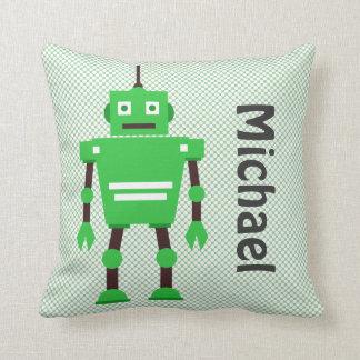 Almohada linda del robot, verde, blanco, negro