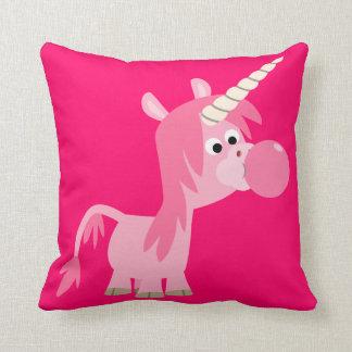 Almohada linda del unicornio del chicle del dibujo