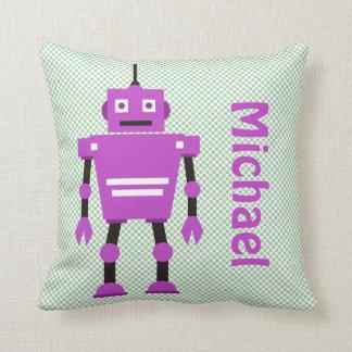 Almohada linda, púrpura y verde del robot