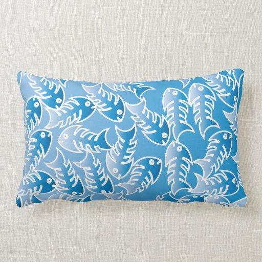 Almohada lumbar azul de las espinas de pez