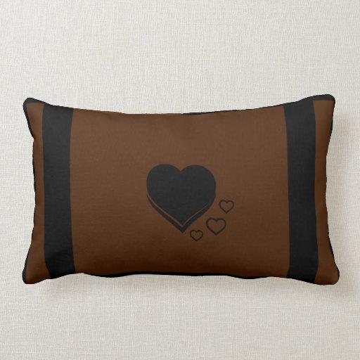 Almohada lumbar del corazón y de la raya (Brown)