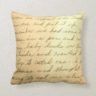 Almohada manuscrita de la nota