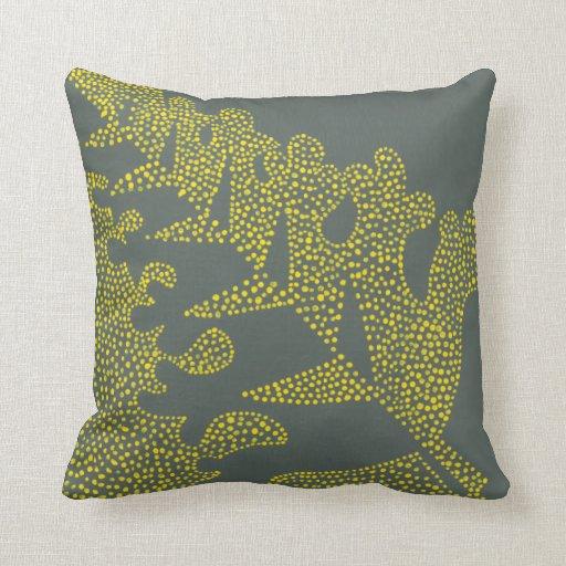 Almohada moderna amarilla y gris brillante, modelo