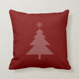 Almohada moderna del rojo del árbol de navidad