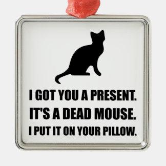 Almohada muerta del ratón del gato adorno navideño cuadrado de metal