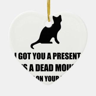 Almohada muerta del ratón del gato adorno navideño de cerámica en forma de corazón