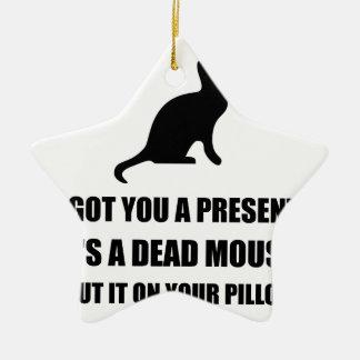 Almohada muerta del ratón del gato adorno navideño de cerámica en forma de estrella