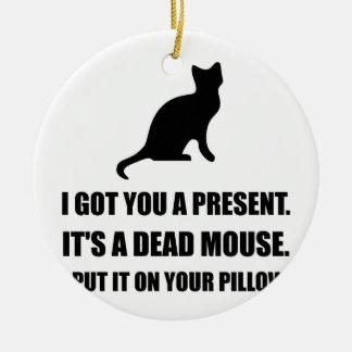 Almohada muerta del ratón del gato adorno navideño redondo de cerámica
