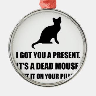 Almohada muerta del ratón del gato adorno navideño redondo de metal