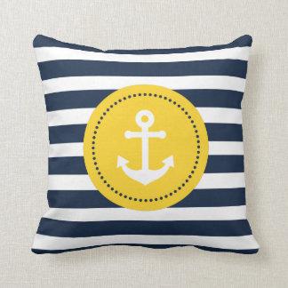 Almohada náutica amarilla blanca azul del ancla