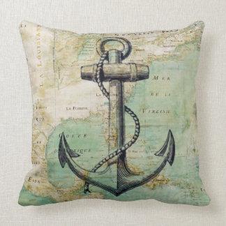 Almohada náutica antigua del mapa y del ancla