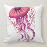 Almohada náutica/costera de las medusas rosadas de