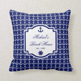 Almohada náutica de los azules marinos del ancla d