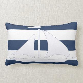 Almohada náutica del Lumbar de la raya azul del ve