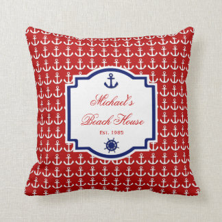 Almohada náutica roja y azul del ancla de la nave