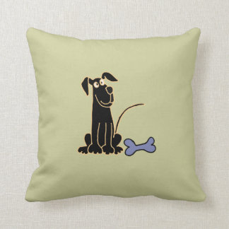 Almohada negra linda AJ del perro de perrito