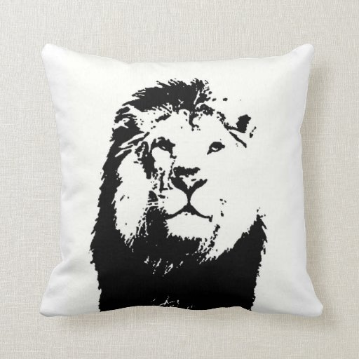 Almohada negra y del blanco/B&W del león del ameri