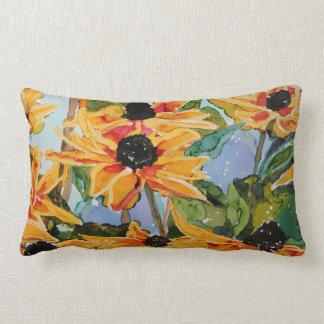 almohada Negro-observada del Lumbar de la flor de