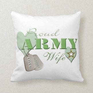 Almohada orgullosa de la esposa del ejército