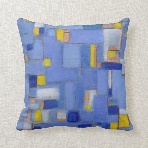 Almohada original abstracta azul del arte de los