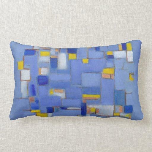 Almohada original abstracta azul del arte de los m