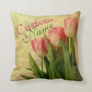 Almohada personalizada de los tulipanes del vintag