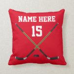 Almohada personalizada del hockey, NOMBRE, NÚMERO,