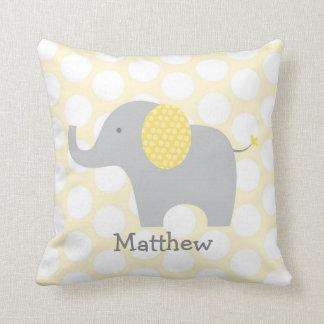 Almohada personalizada elefante amarillo y gris