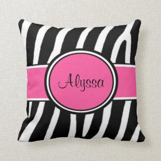 Almohada personalizada estampado de zebra rosado
