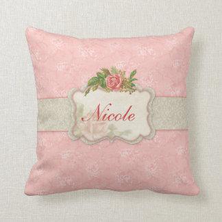 Almohada personalizada floral rosada femenina
