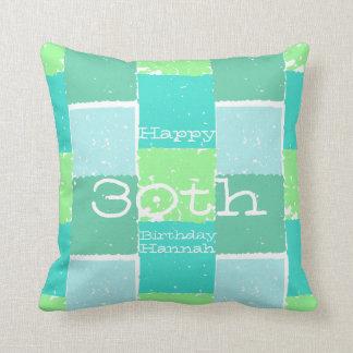 Almohada personalizada menta del cumpleaños del