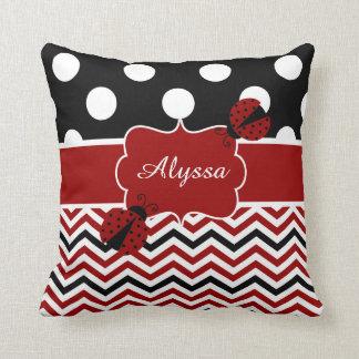 Almohada personalizada negro rojo de la mariquita