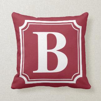 Almohada personalizada rojo del monograma de la