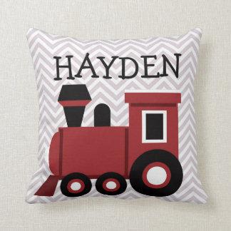 Almohada personalizada tren rojo de los muchachos