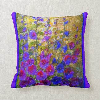 Almohada púrpura del jardín de los Hollyhocks de l