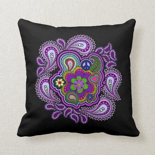 Almohada púrpura psicodélica de Paisley