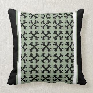 Almohada rayada adornada 20 del musgo negro del