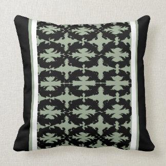 Almohada rayada adornada 21 del musgo negro del