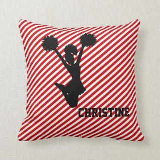 Almohada rayada roja de la animadora