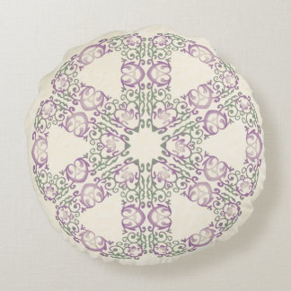 Almohada redonda afiligranada verde y púrpura cojín redondo