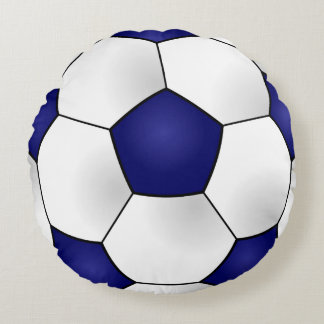 Almohada redonda azul del balón de fútbol