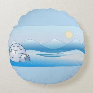 Almohada redonda azul del iglú ártico cojín redondo