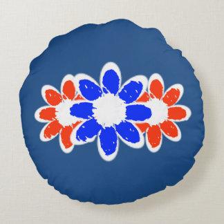 Almohada redonda blanca y del azul roja tres de la cojín redondo