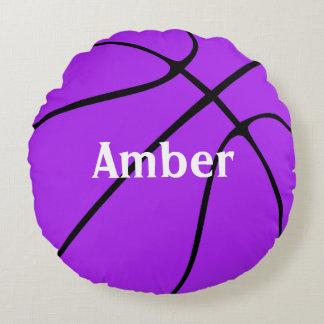 Almohada redonda de encargo del baloncesto púrpura