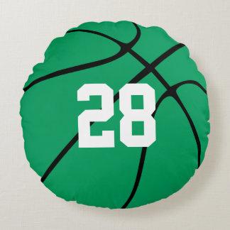 Almohada redonda de encargo del baloncesto verde
