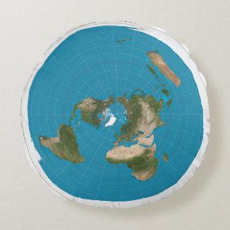 Almohada redonda de la tierra del mapa azimutal cojín redondo