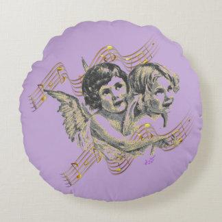 Almohada redonda de los ángeles de la música de la cojín redondo