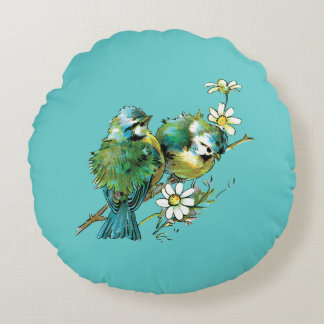 Almohada redonda de los Bluebirds hermosos Cojín Redondo