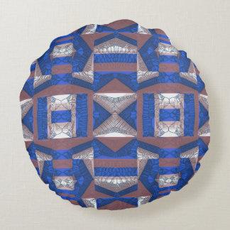 Almohada redonda de mosaico del algodón azul cojín redondo
