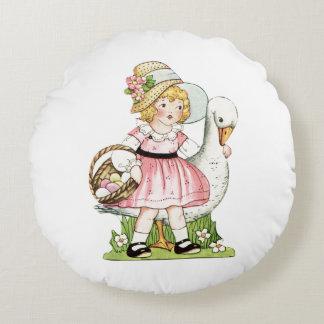 Almohada redonda de Pascua de la niña y del ganso Cojín Redondo